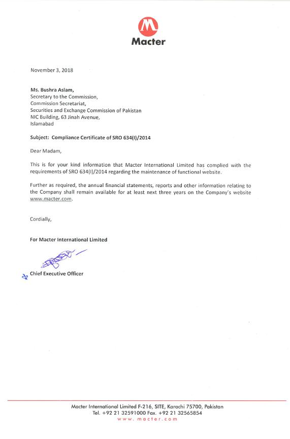 Compliance Certificate Macter
